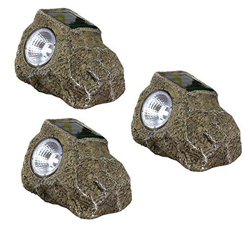 De-Spark 3 Pack Led Solar Lawn Lights Resin Stone Craft Outdoor Night Lights, White Light (Brown)