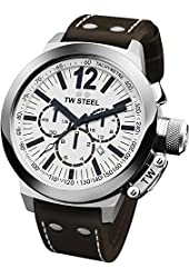 TW Steel Men's CE1007 CEO Canteen Brown Leather White Chronograph Dial Watch