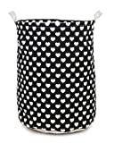 Round Heart Black Laundry Bag