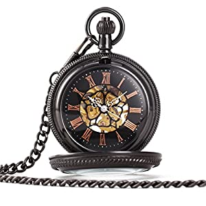 ALIENWOLF Antique Mechanical-hand-wind Pocket Watch with Chain and Box #3