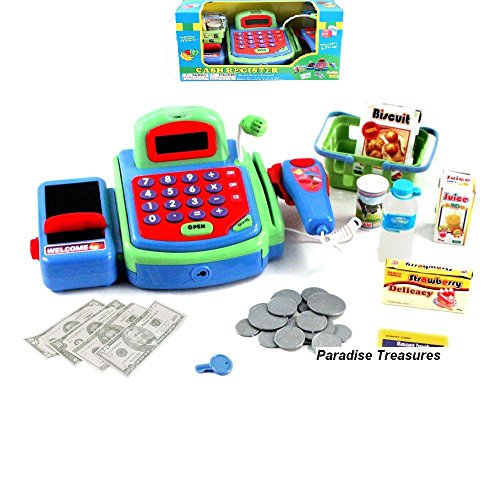Electronic-Cash-Register-Toy-scanner-and-Credit-Card-Reader-Realistic-Actions-Sounds-learning-toy-cash-register-for-kids-26pc-US-Seller