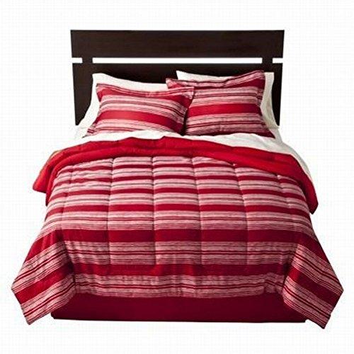 Room Essentials Full Bed In Bag Red Stripe Comforter Set Sheets Shams 8 Pc front-44971