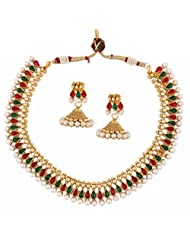 The Jewelbox Traditional Temple Gold Plated Red Green Pearl Necklace Earring Set