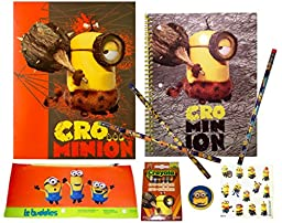 Despicable Me Minions 9 Piece Gift Set: Spiral Notebook Wide Ruled, One 2 Pocket Folder, Limited Edition Minion Crayola Crayons, Pencil Case, 3 Pencils, Eraser, Stickers