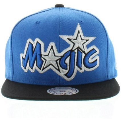 Mitchell & Ness NBA Orlando Magic Two Tone Blue Black Logo Snapback Hat by Mitchell & Ness