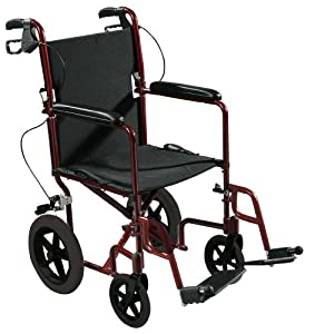 """Drive Medical Expedition Aluminum Transport Wheelchair with Hand Brakes, Red, 19"""""""