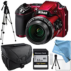 Nikon COOLPIX L840 Red, Full Size Tripod, Camera Case, Memory Card
