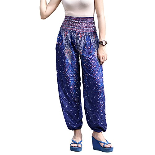 Cotton Rose Women's Peacock Print Casual Yoga Palazzo Hippie Boho Harem Pants