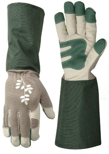 Wells Lamont 1127M Womens Gardening Gloves, Grain Goatskin Rose Tender, Medium
