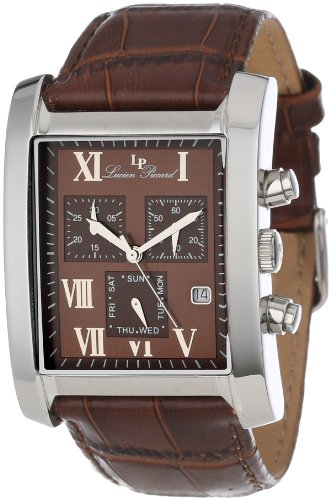 Lucien Piccard Men's 98041-04 Classico Chronograph Brown Dial Brown Leather Watch