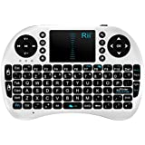 Rii Mini i8 Wireless KeybRii Multifunction 2.4GHz RF Portable Mini Wireless Keyboard with Touchpad Mouse , KODI XMBC Rechargable Keyboard , Multi-media Portable Handheld Android Keyboard for PC Laptop Raspberry PI MacOS Linux HTPC IPTV Google Smart TV Android Box XBMC Windows 2000 XP Vista 7 8 10 (K08 UK White)