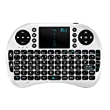 Rii Mini i8 Wireless Keyboard with Touchpad and Multimedia Keys for PC, Tablet, Gaming Consoles and Others-White ,UK Layout
