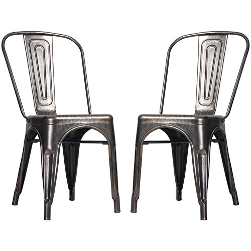 Merax High Back Steel Stackable Vintage Metal Dining Chair, Golden Black (Set of 2) 0