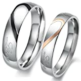 "JBlue Jewelry Men,Womens ""Real Love"" Heart Stainless Steel Band Ring Valentine Love Couples Wedding Engagement Promise (with Gift Bag)"