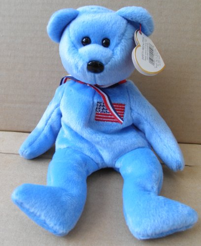 TY Beanie Babies America Bear Stuffed Animal Plush Toy - 8 1/2 inches tall - Light Blue - American Flag on Chest