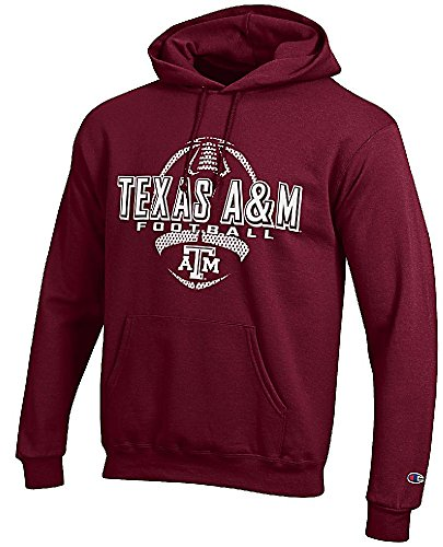 Texas A&M Aggies Maroon Football Powerblend Screened Hoodie Sweatshirt by Champion (XX-Large)