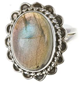 925 Sterling Silver NATURAL LABRADORITE Ring, Size 7.25, 6370g