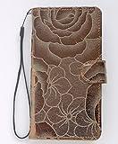 【medaca-正規品】SHARP シャープ AQUOS CRYSTAL 305SH softbank 手帳型 スマホ ケース 手作り ハンドメイド 合皮 レザー 横型 花柄 シンプル ミラー カードポケット 付き