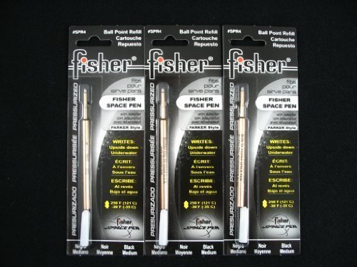 Refills for Bullet Fisher Space Pen 3 Pack Black SPR4 by Fisher Space Pen made in USA (English Manual)