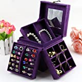 KLOUD ® Purple three-layer lint jewelry box / organizer / display storage case with mirror plus KLOUD cleaning cloth