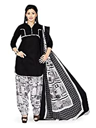 PShopee Black & White Printed Unstitched Semi Patiala Suit Dress Material