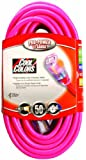 Coleman Cable 02578-0A 50-Feet 12/3 Neon Outdoor Extension Cord, Bright Pink