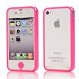 Karia® Transparent Soft Plastic Full Body Protective Cover Case for Iphone 4 4S Rose Red