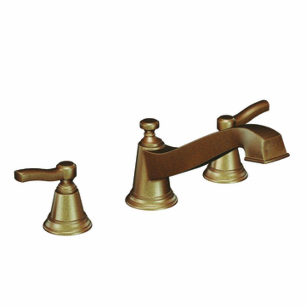 Moen Rothbury Two-Handle Low Arc Roman Tub Faucet moen бесопасная перила с треугольной полкой 90185