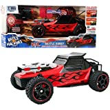 "Jada Toys 2013 Battle Machines Full Function Triband 27 MHz R/C Vehicle - RED BATTLE BUGGY with Lights and Sounds, Rapid Fire Disc Launcher, 20 Disc, 5 Target and 1 Remote Control (Vehicle Dimension: 10"" x 5"" x 4"")"