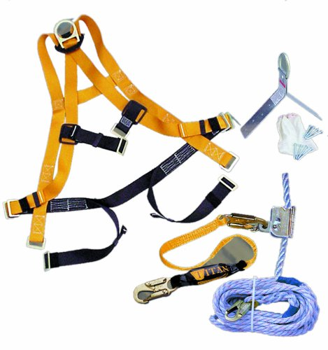 Miller Titan by Honeywell TRK4000/50FTAKU 50-Feet Titan Roofing Fall Protection Full Body Harness Kit