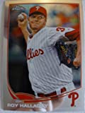 2013 Topps Chrome Baseball #104 Roy Halladay Trading Card in a Protective Case With a Small Stand - Philadelphia Phillies