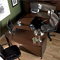 Big Sale Bush Furniture Corsa Series Home Office U-Shape Wood Computer Desk Set with Hutch in Mocha Cherry