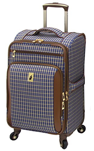 london-fog-kensington-21-inch-expandable-spinner-carry-on-blue-tan-plaid-one-size