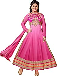 Shayona Enterprise Women's Brocade & Georgette Unstitched Dress Material (hz2-54001_Pink_Free Size)