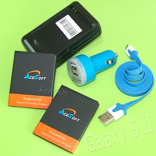 5 Accessory 2x 2080mAh Battery Travel Wall Charger