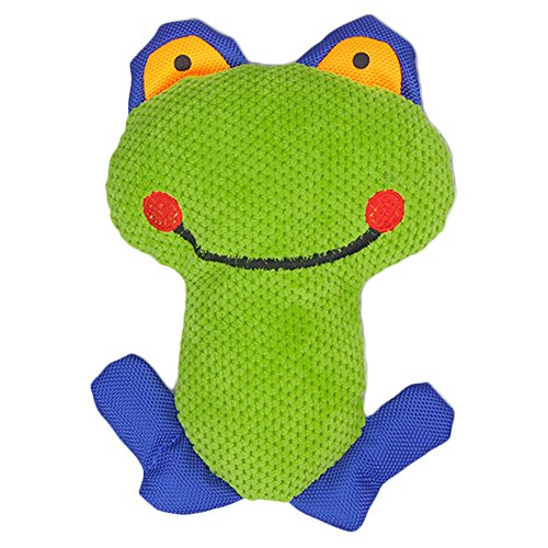 IKING Interactive Green Frog Plush Dog Toy,Squeak Puppy Chew Unbreakable Dogs Toys