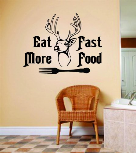 Eat More Fast Food With Deer Buck Head & Fork Image Animal Hunting Hunter Man With Gun Picture Art - Boys Kids Bed Room Sports Hobbies - Peel & Stick Sticker - Vinyl Wall Decal - Size : 6 Inches X 12 Inches - 22 Colors Available front-458757