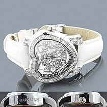 Luxurman Ladies Diamond Heart Watch 0.30ct White