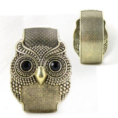Zehui Women's Girls Antique Punk Bronze/silver Tone Night Owl Pattern Bracelet Bangle (bronze)