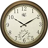 Home - River City Clocks 24 Inch Indoor/Outdoor Clock with Brass Colored Finish, Time, & Temperature - Model # 1011-24