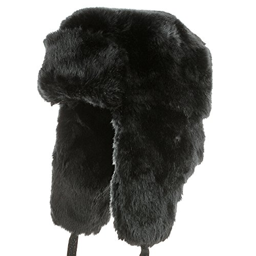 992741a9a02 EXPLORER Ushanka Winter Trapper Faux Fur Pilot Hat with Ear Flaps Russian  BLACK 7 1 8