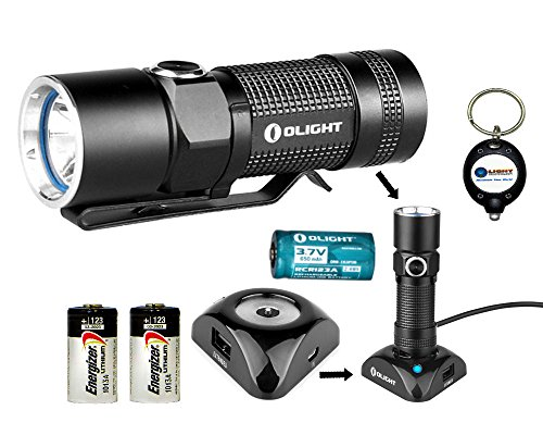 Bundle: Olight S10R Baton Rechargeable 400 Lumens Cree Xm-L2 Led Flashlight Edc With Rcr123 Li-Ion Battery , Charging Base And Two Energizer Cr123A Lithium Back-Up Batteries