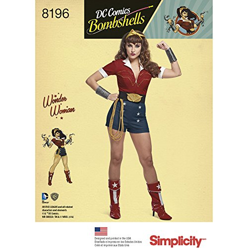 Read About Simplicity 8196 D.C. Bombshells Wonder Woman Costume, R5 (14-16-18-20-22)