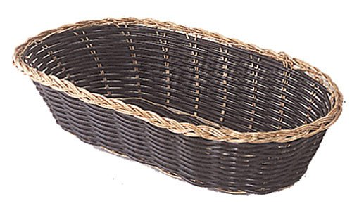 Update International BBV-94 Woven and Bread Black Vinyl Cord Basket with Gold Anodized Trim, Oblong, 4-1/4-Inch