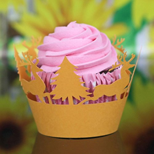 HP95 24Pcs Wedding Party Christmas Lace Cup Muffin Cake Paper Case Wraps Cupcake Wrapper (Orange-Style)