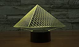 Triangle Pyramid Hologram LED Night Light Lamp - Color Changing