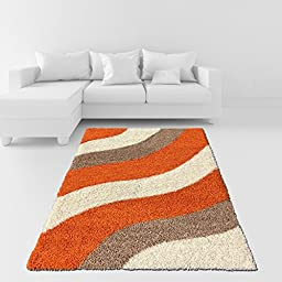 Soft Shag Area Rug 5x7 Geometric Striped Orange Ivory Grey Shaggy Rug - Contemporary Area Rugs for Living Room Bedroom Kitchen Decorative Modern Shaggy Rugs