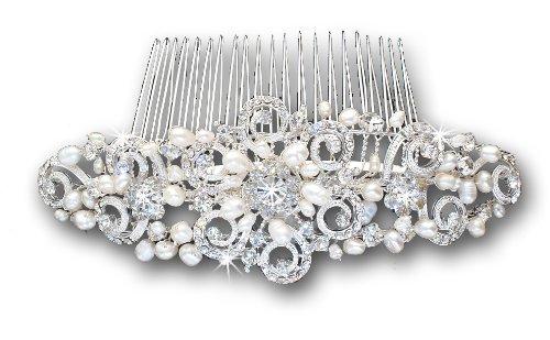 Vintage Silver-Tone Crystal Ivory Freshwater Pearls Bridal Wedding Hair Comb