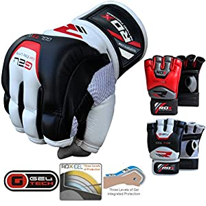 RDX Cow Hide Leather Gel Tech MMA UFC Grappling Gloves Fight Boxing Punch Bag
