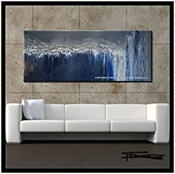 Abstract Modern Canvas Painting Limited Edition, Hand Embellished, Textured, Ready to Hang! 60 x 24 x 1.5 inch CRYSTAL BLUE PERSUASION...ELOISEWORLD